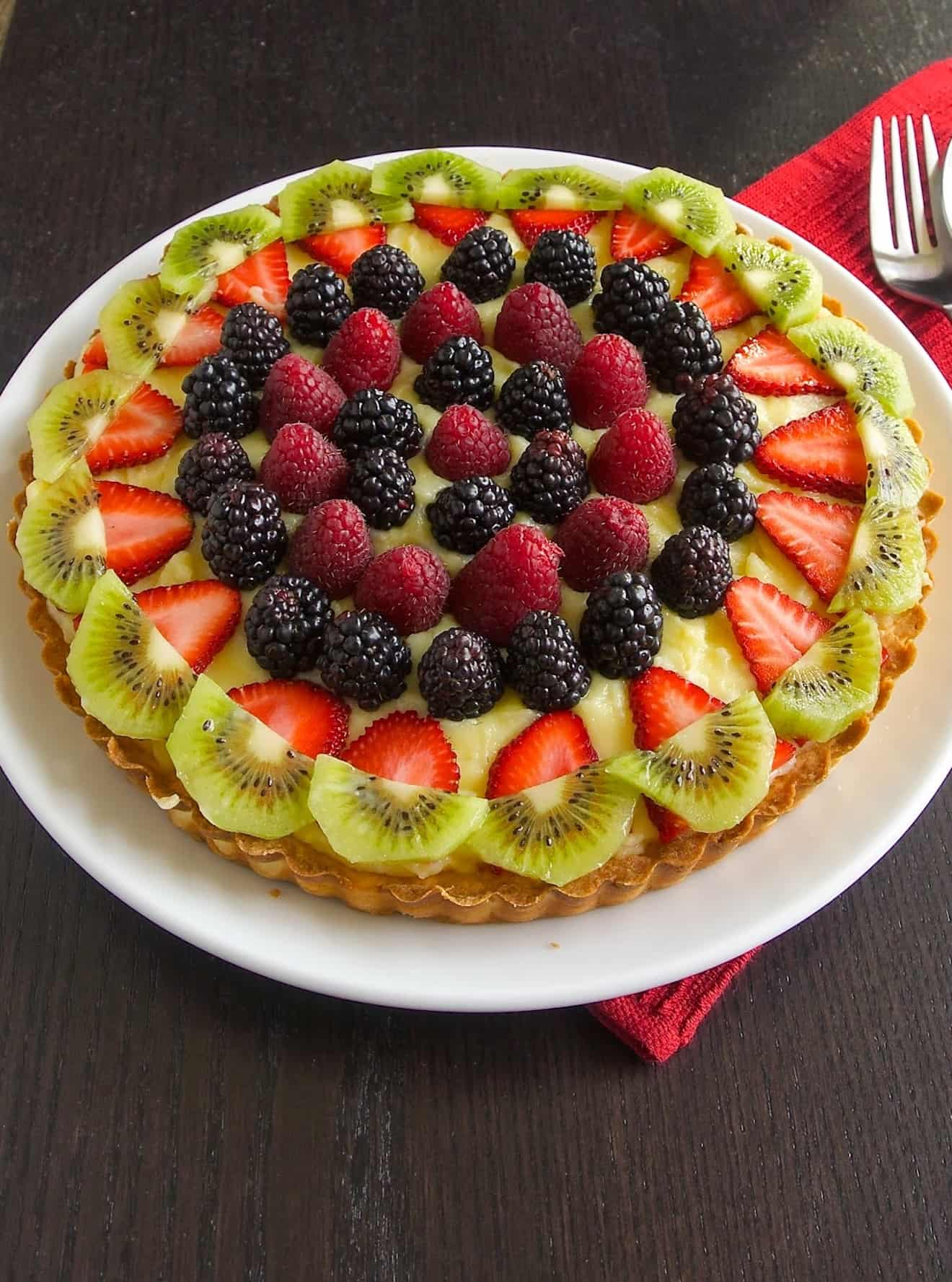 Colorful fruit on top of a custard tart