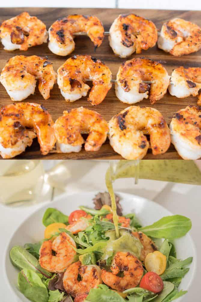Grilled shrimp and pouring salad dressing over shrimp salad