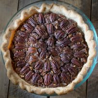 Bourbon Pecan Pie from above showing the decorative pattern of the pecans on top