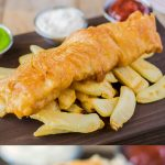 British fish & chips are a national treasure and there's no denying their popularity. Fresh cod is beer battered then shallow fried to golden perfect and served with a side of thick cut chips and peas.