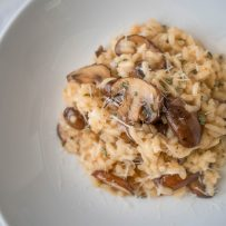A closeup of the meaty mushrooms in the risotto