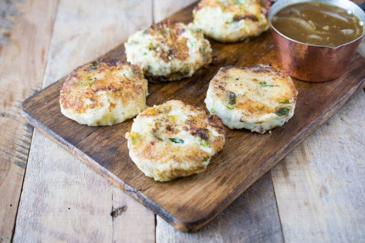 5 Bubble and squeak on a board with onion gravy