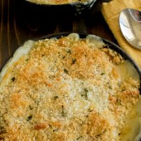 Browned panko breadcrumbs with flecks of sage on top of butternut squash and sage gratin