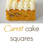 2 squares of carrot cake with decorative piping