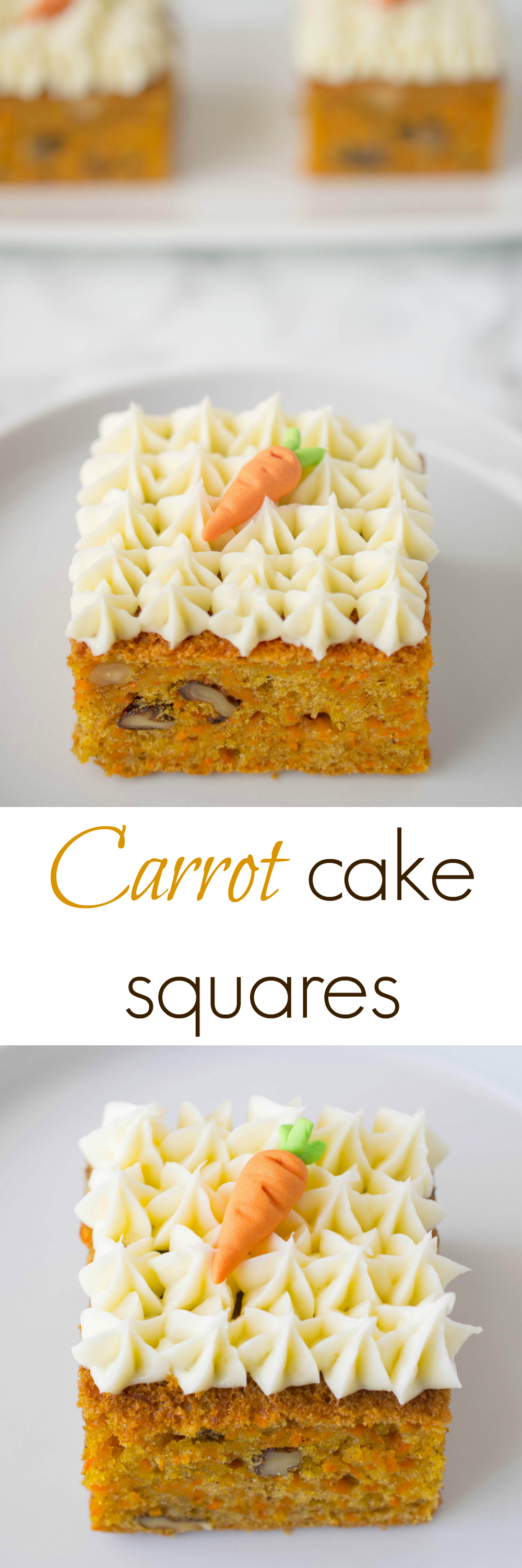 Easy and moist carrot cake made sheet cake style and cut into squares. These carrot cake squares are perfect individual sizes with added walnuts and adorned with decoratively piped cream cheese frosting.