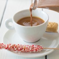 Cashew milk peppermint mocha coffee creamer is a delicious, seasonal, non-dairy coffee creamer that you can make yourself at home from scratch using The NutraMilk.