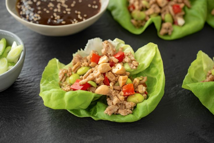 Lettuce leaves filled with ground chicken and vegetables