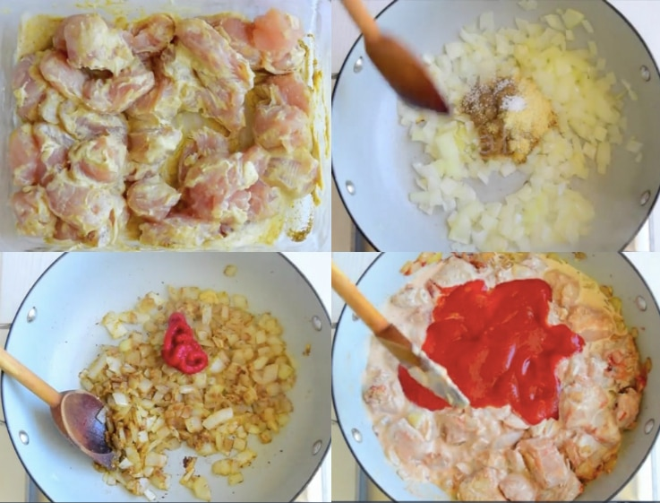 A step by step image collage showing how to make chicken tikka masala