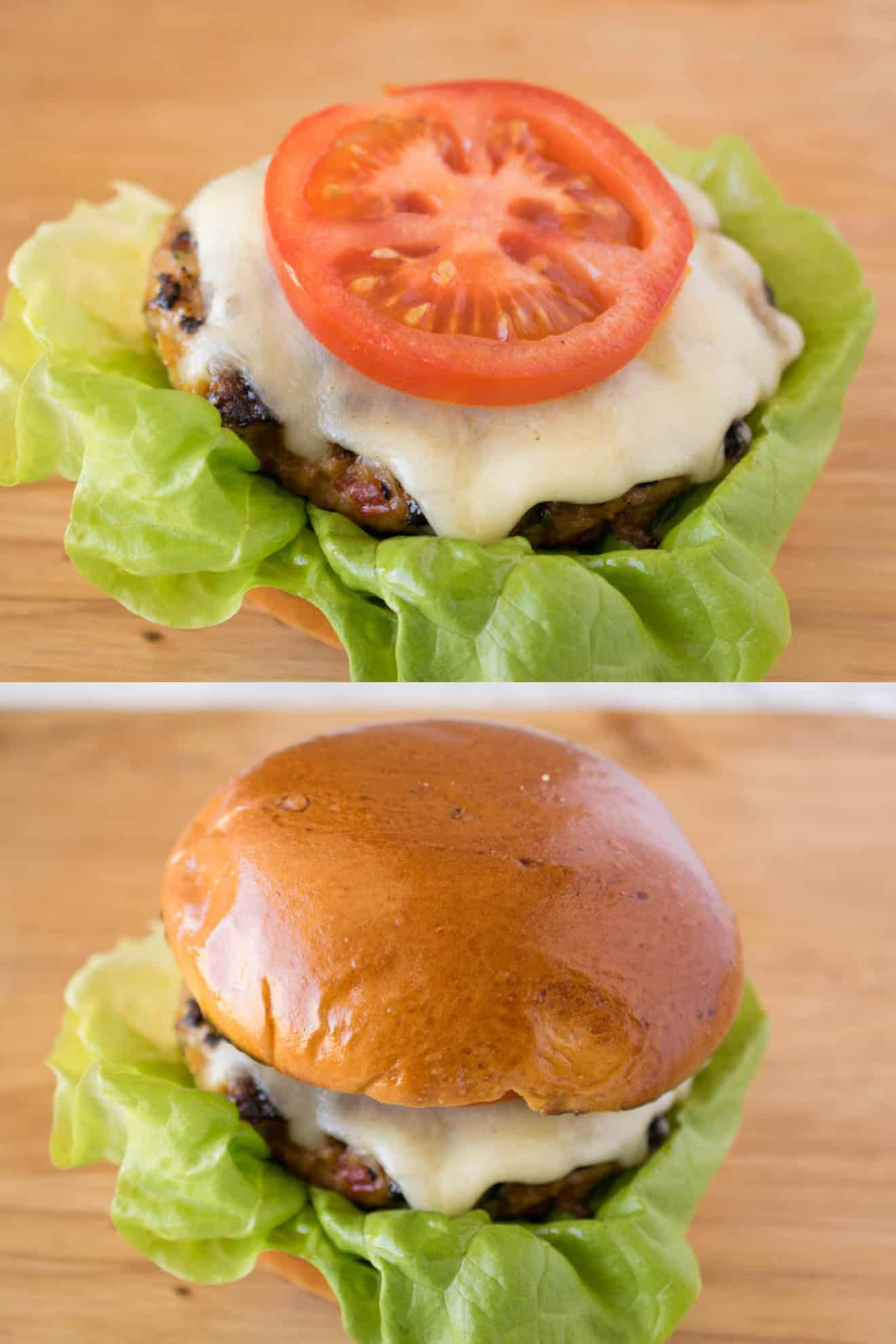 Tomato topped cheeseburger and a complete burger in a bun
