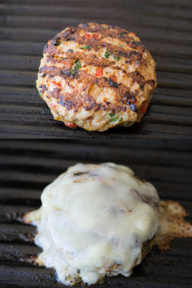 A chipotle chicken burger cooking on the grill and the burger covered in melted cheese