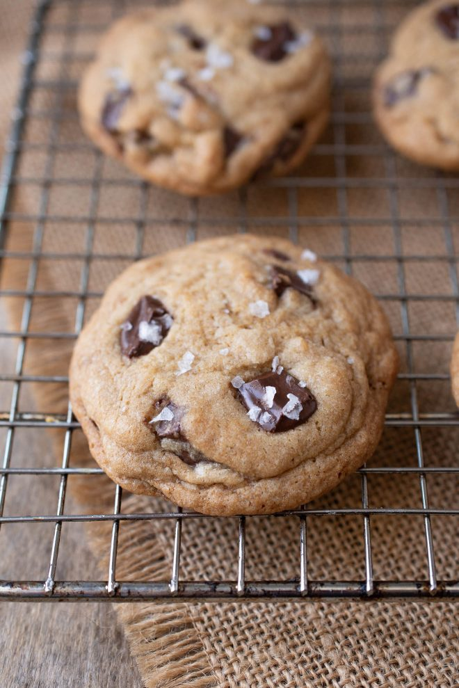 Chocolate chunk cookies on a cooling rack