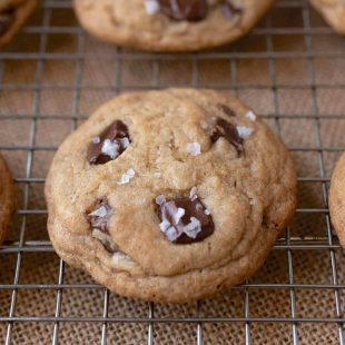 Chocolatey chunk cookies topped with flaky sea salt