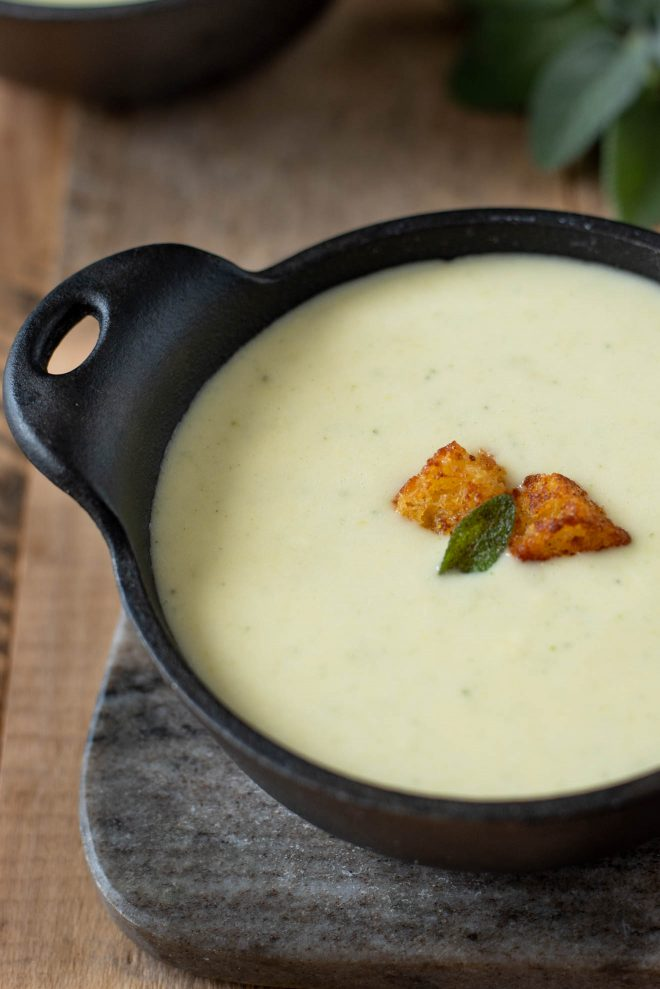 Creamy and smooth cornbread, sage and onion soup without any dairy