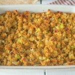 A rectangle baking dish of Cornbread sage and onion stuffing