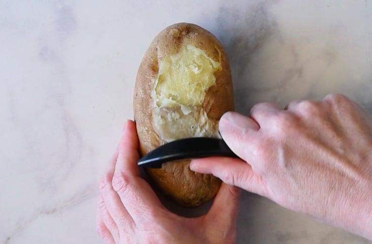 Peel the cooked potato