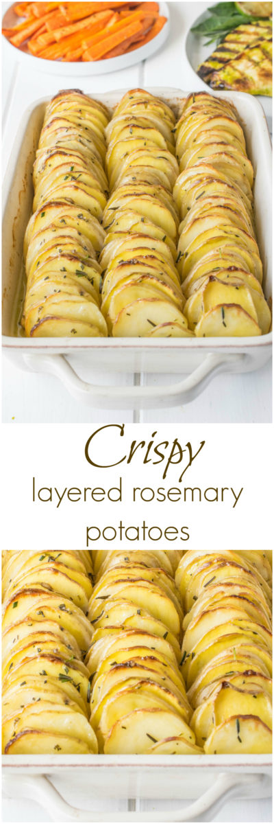 Crispy Layered Rosemary Potatoes are thinly sliced potatoes  layered with butter and rosemary then baked to crispy perfection.  A lovely side dish to serve for family dinners or holidays. #crispypotatoes #layeredpotatoes