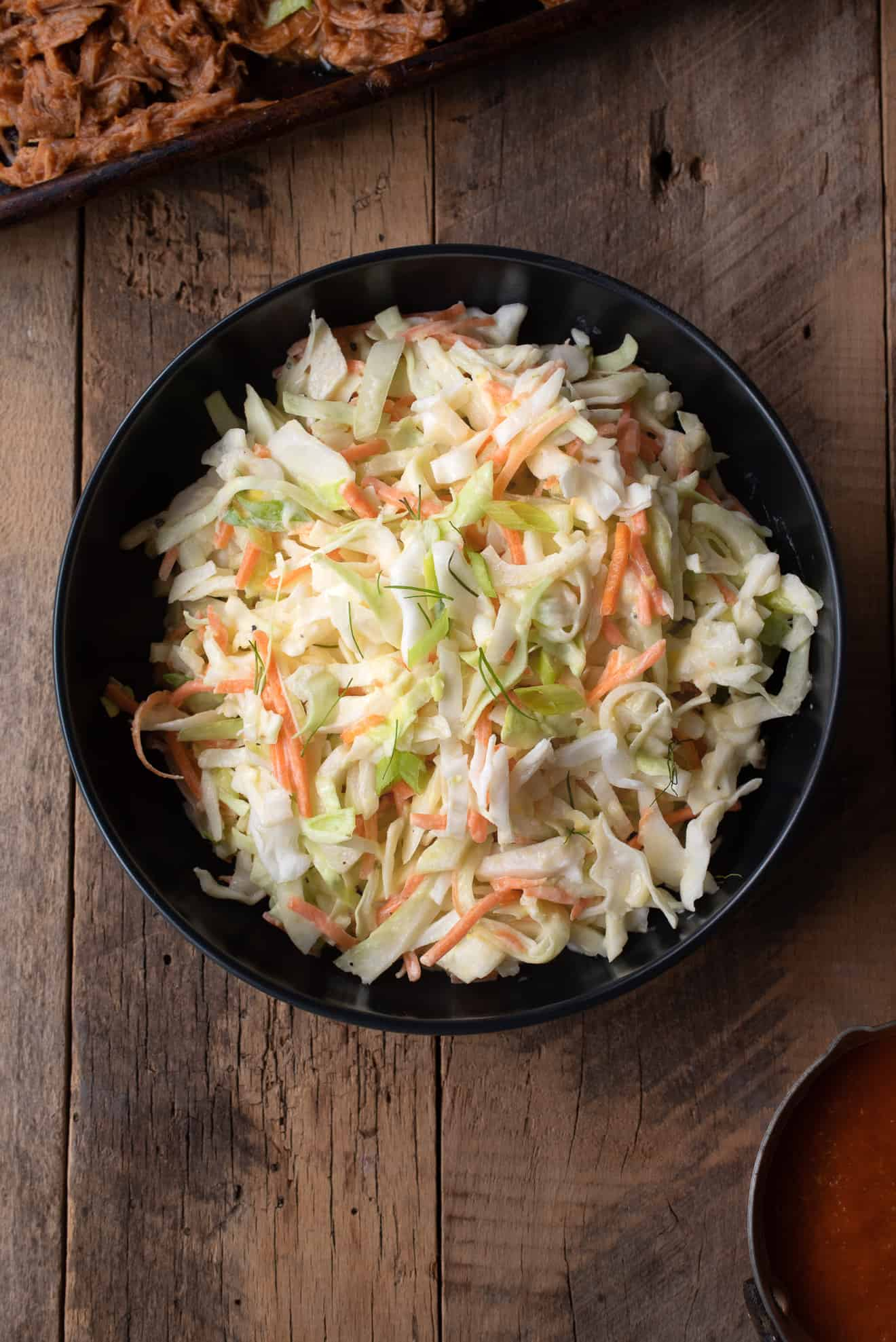 Crunchy vegetable coleslaw from overhead