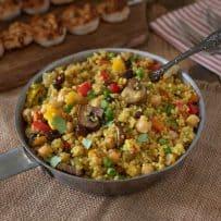 Colorful vegetables in this vibrant curry quinoa recipe