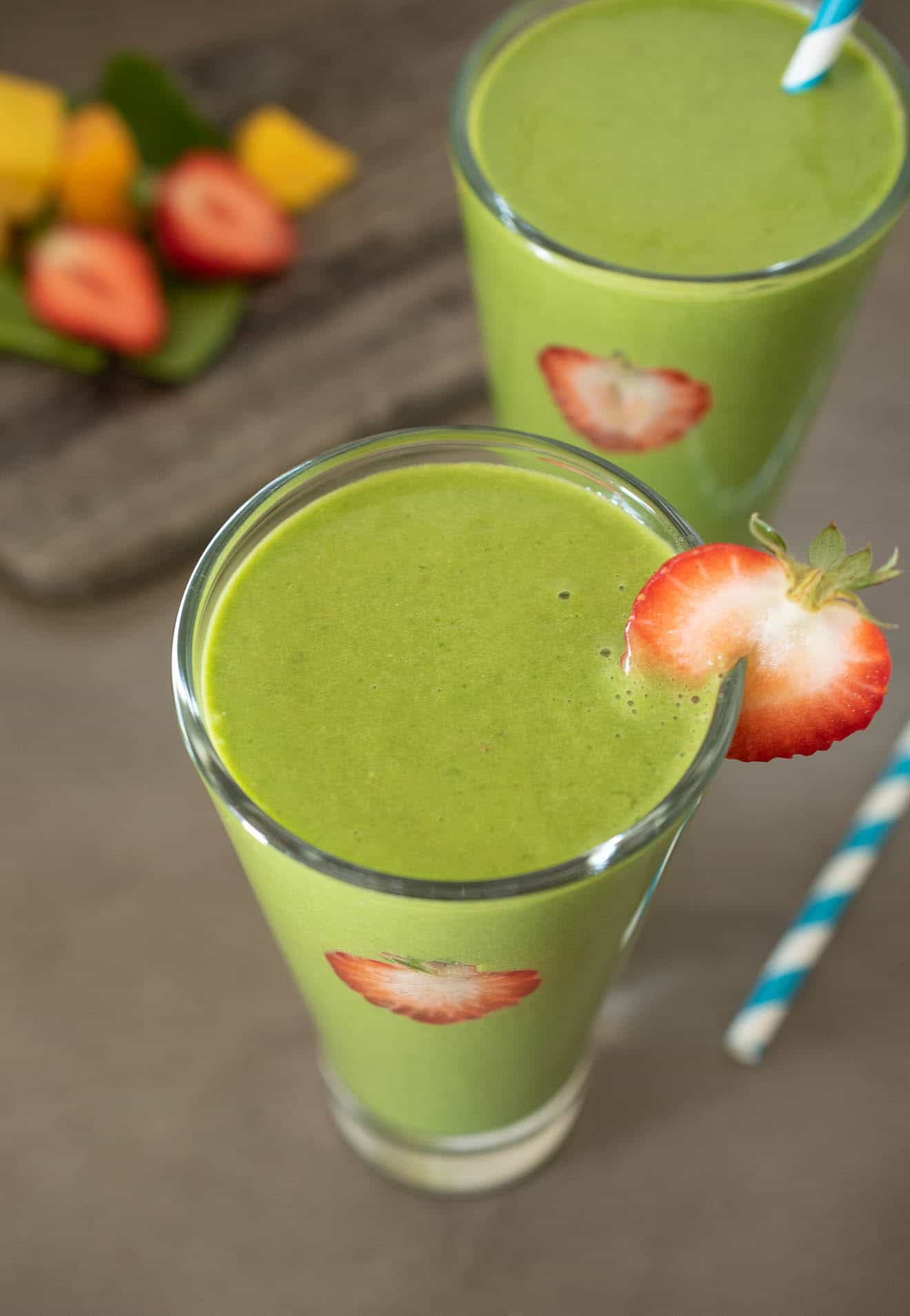 A vibrant green smoothie from above