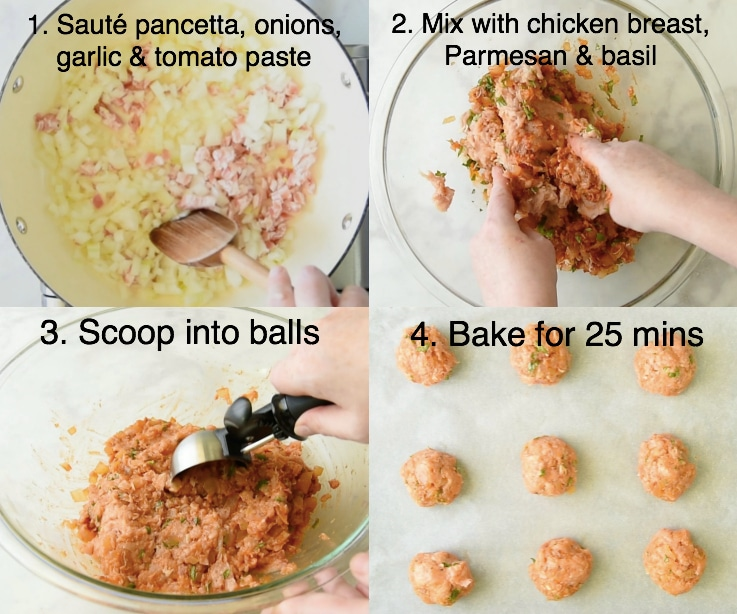Step by step instructions for making easy chicken meatballs