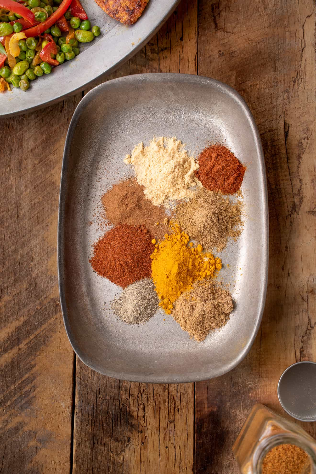 A look at different spices from overhead
