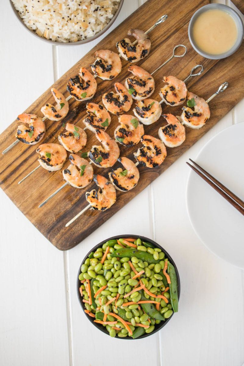 Edamame and snap peas with grilled shrimp on skewers