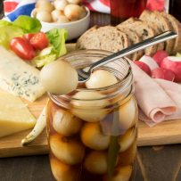 English pickled onions served with a Ploughman's lunch