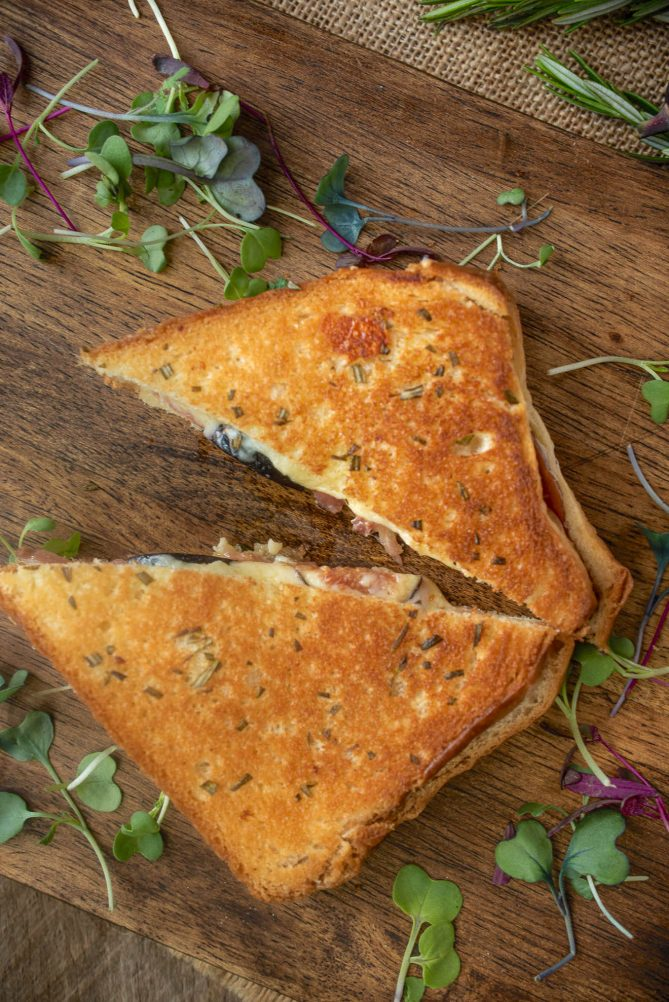 A grilled cheese sandwich cut into triangles viewed from overhead