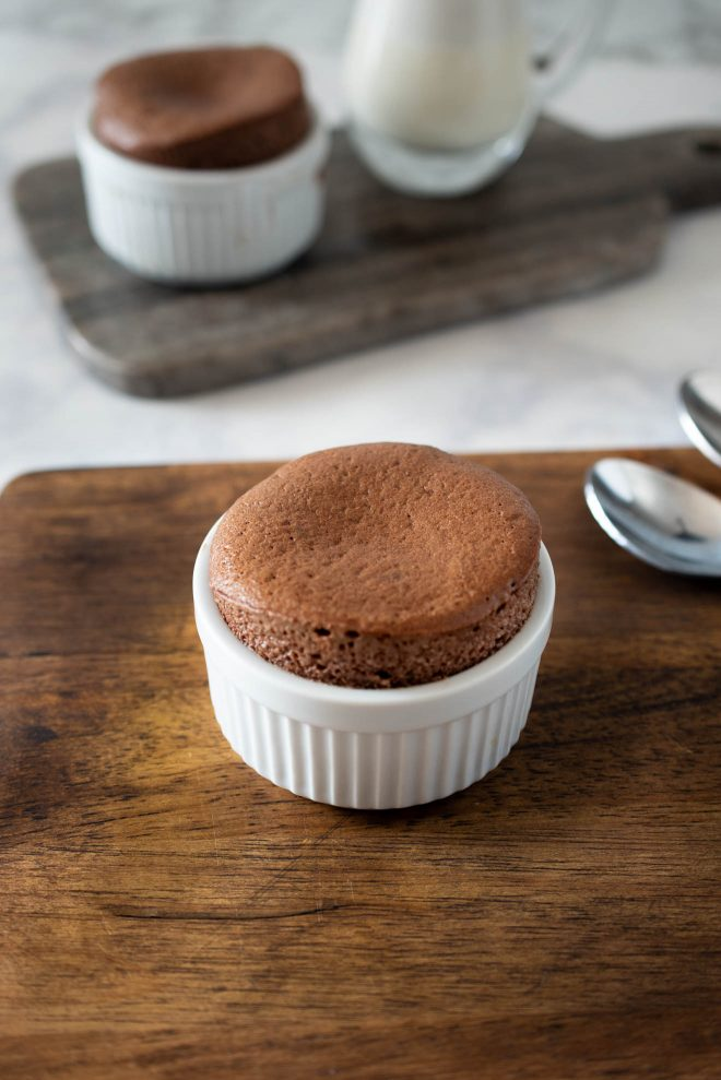 A single souffle fresh out of the oven