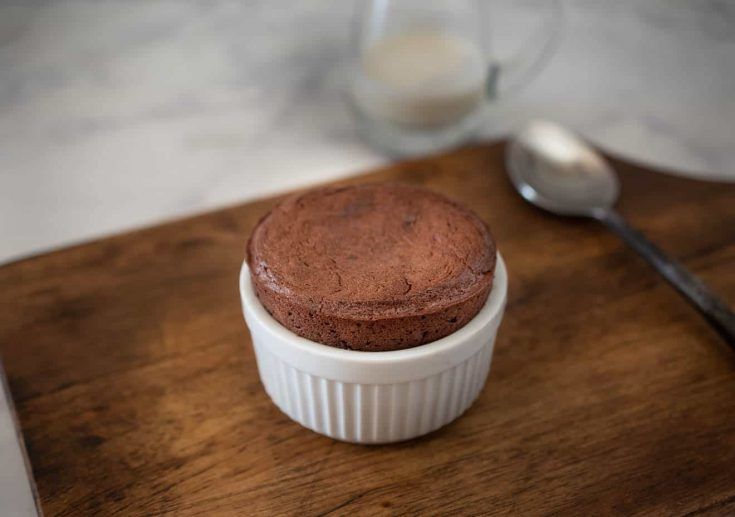 A perfect flourless gingerbread chocolate soufflé right out of the oven