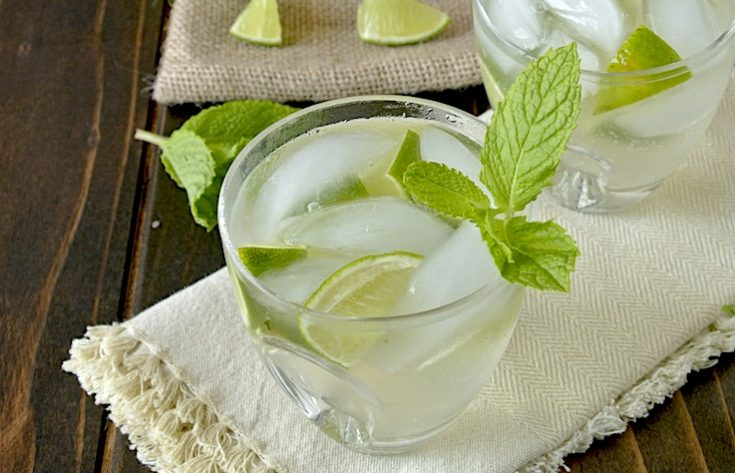 A glass of Ginger Gin Fizz in a short glass garnished with lime and mint
