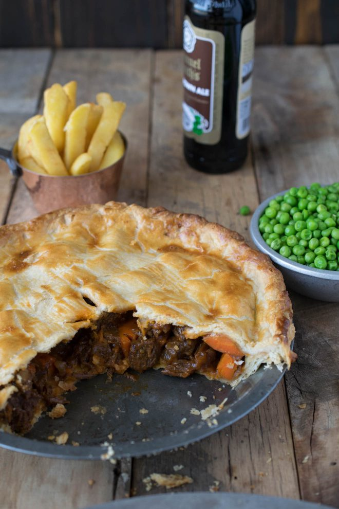 Steak and ale pie made with gluten free crust