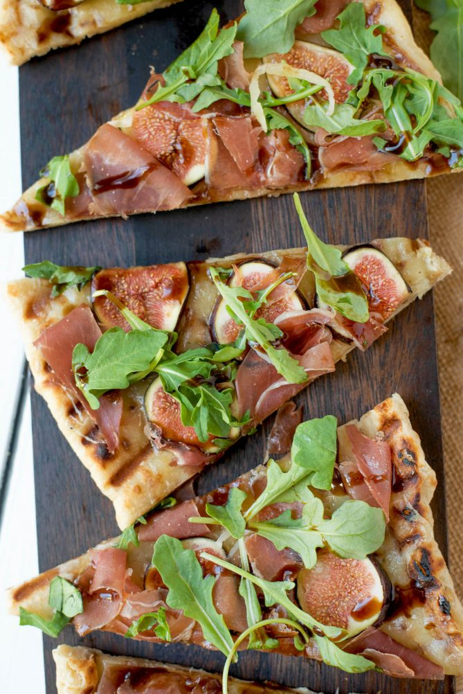 3 slices of flatbread on a board viewed from overhead