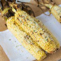Grilled Parmesan garlic and basil corn on the cob