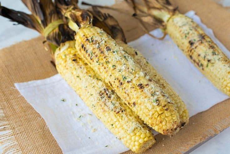 Grilled Parmesan, Garlic and Basil Corn on the Cob