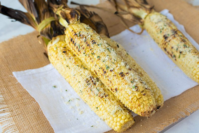 Grilled Parmesan Garlic and Basil Corn on the Cob