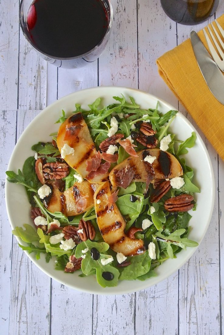 The salad from overhead showing perfectly grilled pear slices