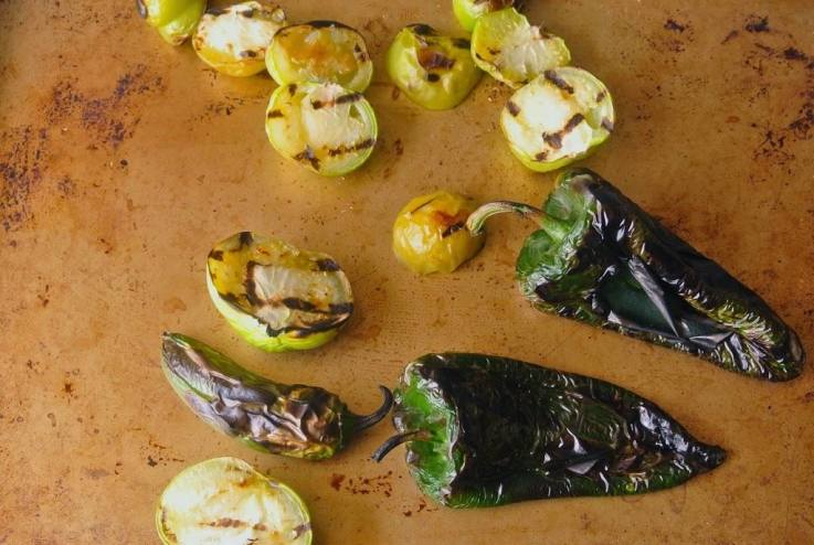 Grilled peppers and tomatillos fresh off the grill