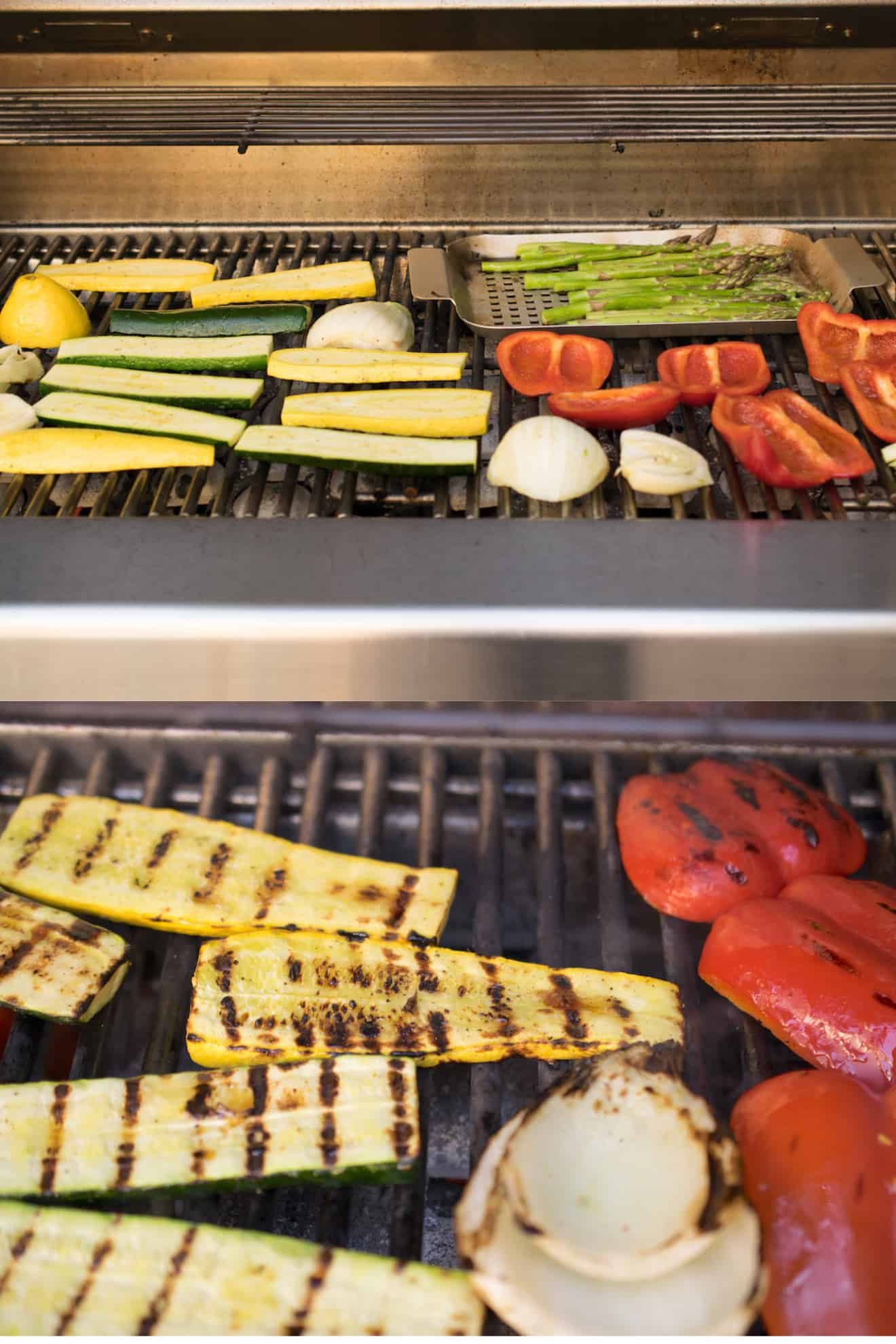 Zucchini/courgette, red peppers, asparagus and onions on the grill