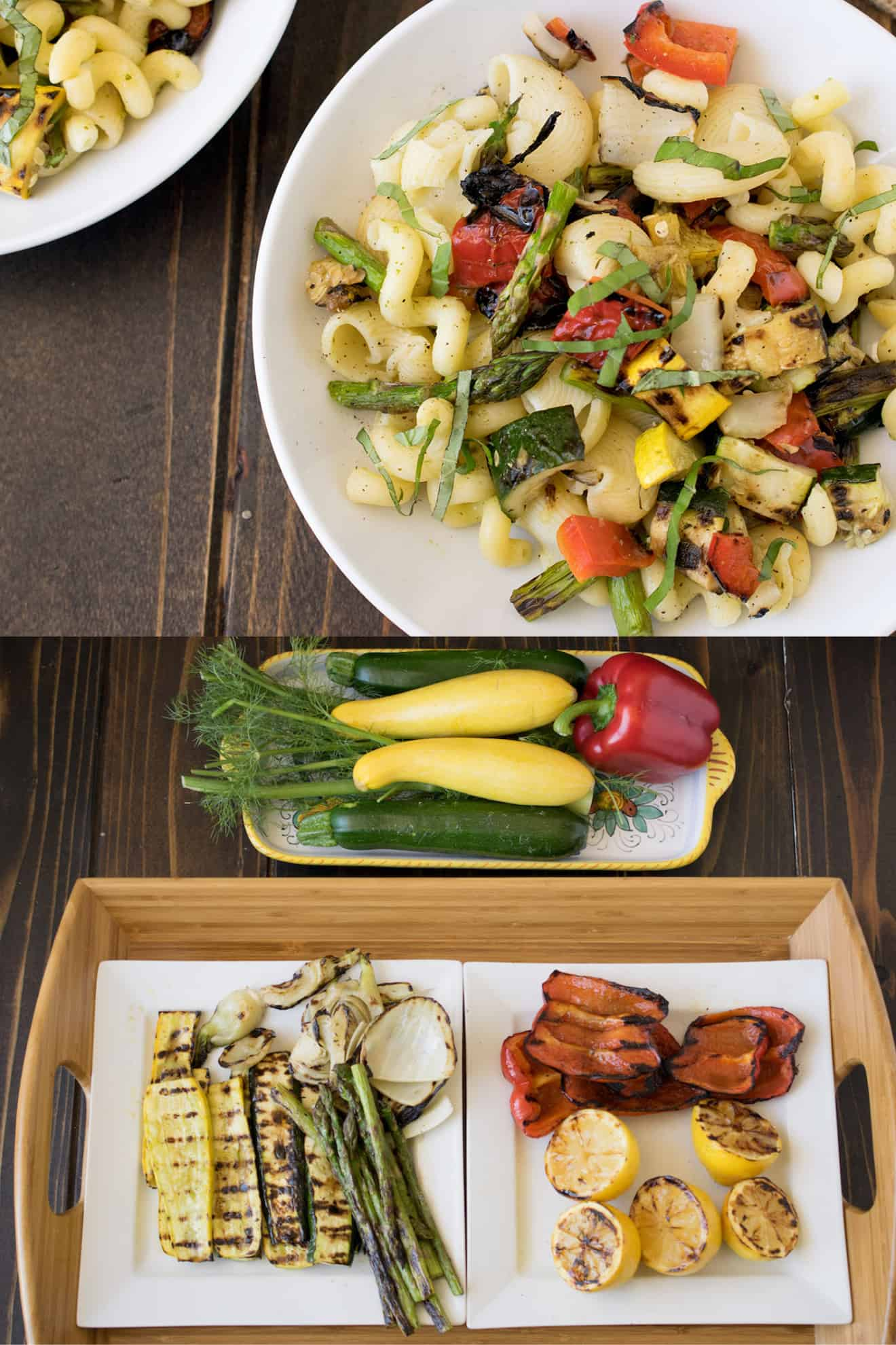 A bowl of spring vegetable pasta salad and freshly grilled vegetables on a plate