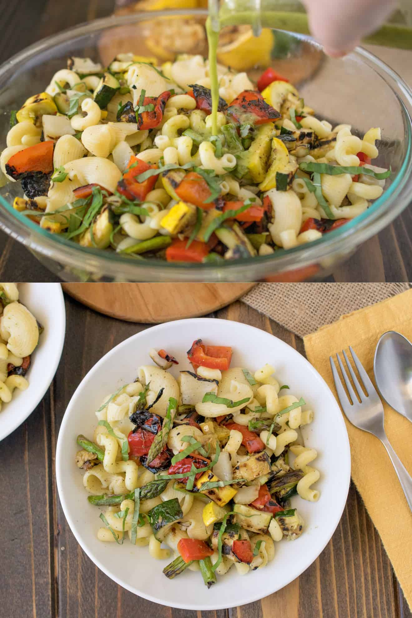 Pouring dressing over grilled spring vegetable pasta salad