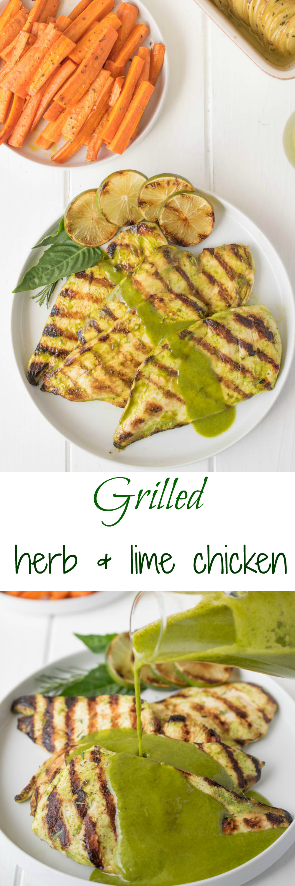 Grilled herb and lime chicken. Thin chicken breasts are marinated in a herb sauce with extra sauce used for finishing the dish, so easy and delicious.