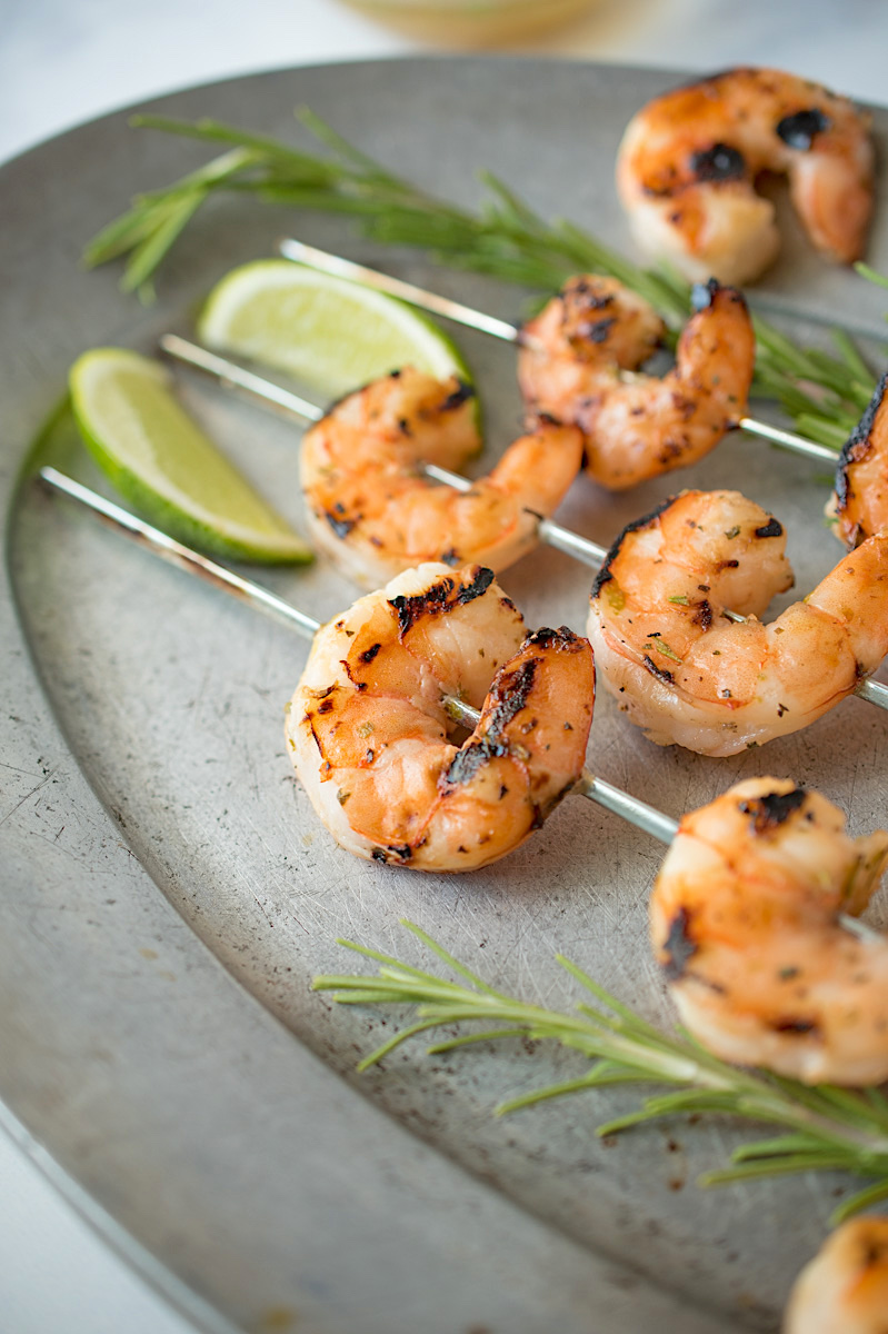 A closeup of freshly grilled key lime shrimp