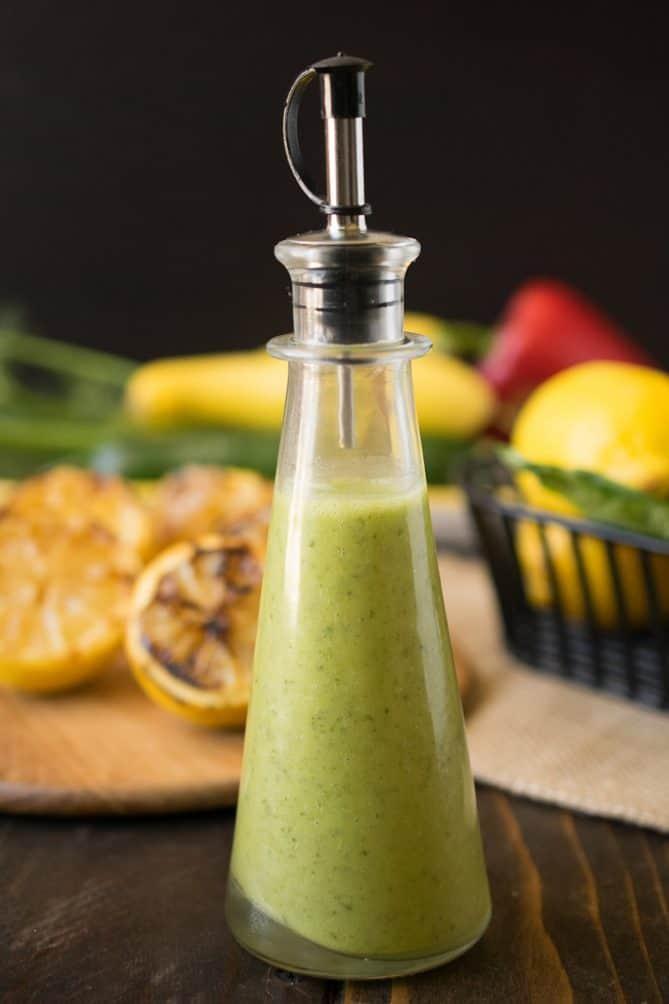 A closeup of grilled lemon basil vinaigrette showing the beautiful green color