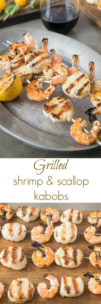 Grilled shrimp and scallop kebobs, lightly seasoned and skewered, the perfect summer dish.