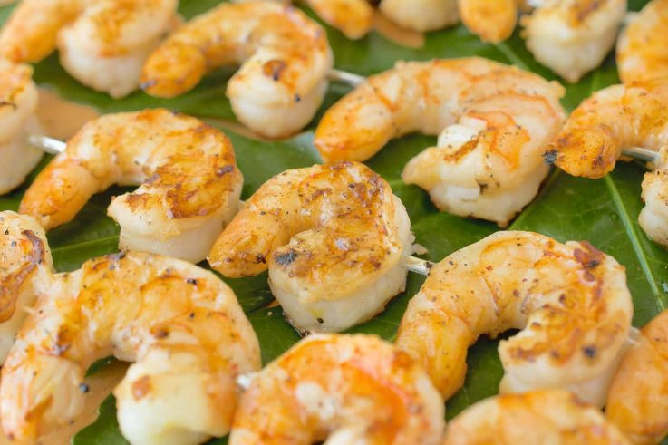 A closeup showing the juicy, perfectly grilled shrimp
