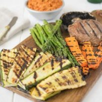 A colorful platter of grilled vegetables