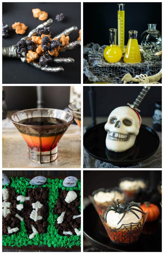 A collage of Halloween recipes like orange and black popcorn, a bright yellow drink in chemistry beakers, a skull cake and spider cupcake