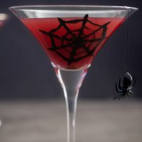 A long stem martini glass with a spider web and spider hanging filled with red liquid