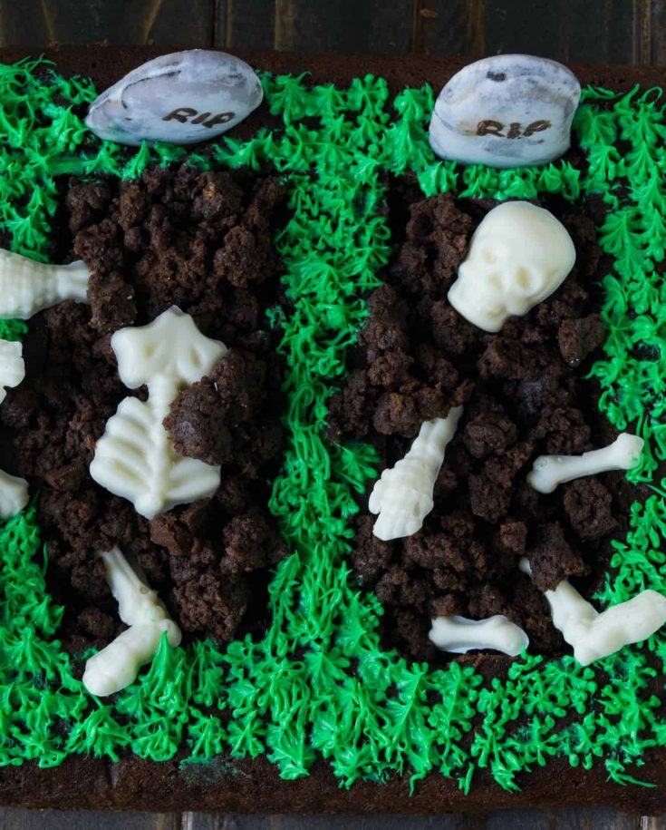 White chocolate skeletons in a brownie grave
